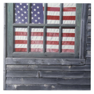 NA, USA, Maine, Georgetown Island. Flag of the Large Square Tile