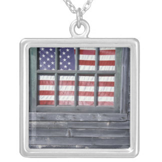 NA, USA, Maine, Georgetown Island. Flag of the Silver Plated Necklace