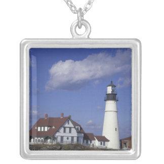 NA, USA, Maine, near Portland, Portland Head Silver Plated Necklace