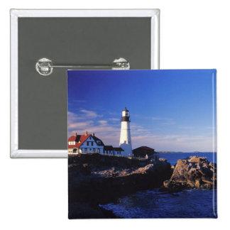 NA, USA, Maine. Portland Head lighthouse. 15 Cm Square Badge