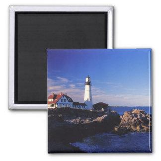 NA, USA, Maine. Portland Head lighthouse. Square Magnet