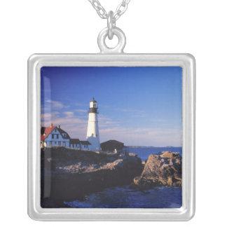 NA, USA, Maine. Portland Head lighthouse. Square Pendant Necklace