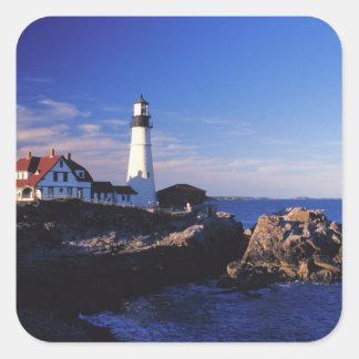 NA, USA, Maine. Portland Head lighthouse. Square Sticker