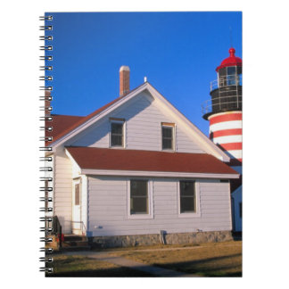NA, USA, Maine.  West Quoddy lighthouse near Spiral Note Book