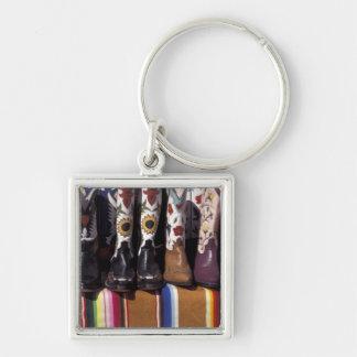 NA, USA, New Mexico, Santa Fe. Cowboy boots Silver-Colored Square Key Ring