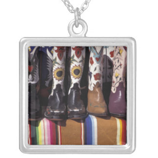 NA, USA, New Mexico, Santa Fe. Cowboy boots Silver Plated Necklace