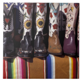 NA, USA, New Mexico, Santa Fe. Cowboy boots Tile