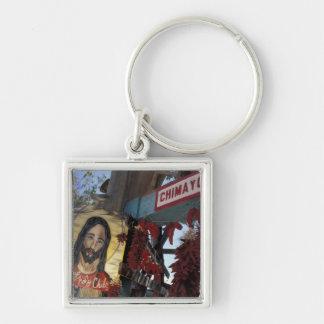 NA, USA, New Mexico, Santa Fe. Silver-Colored Square Key Ring