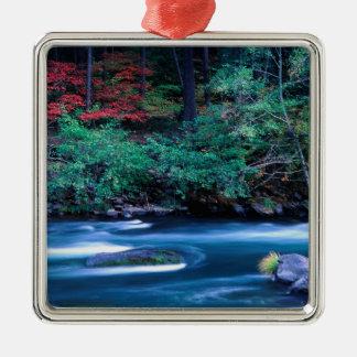 NA, USA, Oregon, Fall Foliage on North Umpquah Silver-Colored Square Decoration