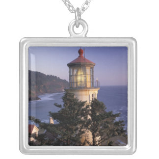 NA, USA, Oregon, Heceta Head Lighthouse, Silver Plated Necklace
