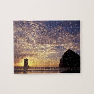 NA, USA, Oregon, Oregon Coast, Canon Beach with Jigsaw Puzzle