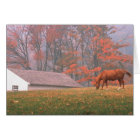 NA, USA, PA, Valley Forge. Horse grazing in a Card
