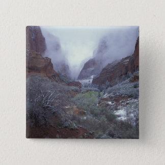 NA, USA, Utah, Zion NP, Spring snow storm, 15 Cm Square Badge