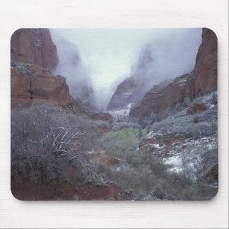NA USA Utah Zion NP Spring snow storm Mousepad