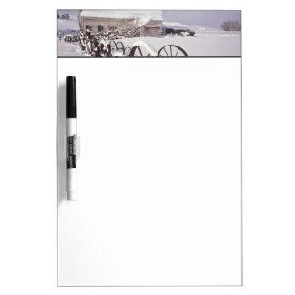 NA, USA, Washington, Uniontown, White barn and Dry Erase Board