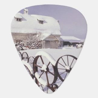 NA, USA, Washington, Uniontown, White barn and Guitar Pick