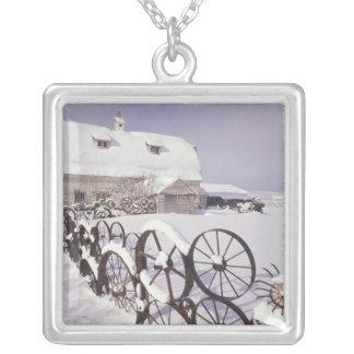 NA, USA, Washington, Uniontown, White barn and Silver Plated Necklace