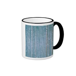 NA, USA, WY. Snowy winter scene among Coffee Mugs