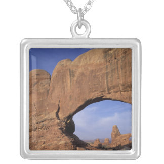 NA, Utah, Arches National Park. Double Arch Silver Plated Necklace