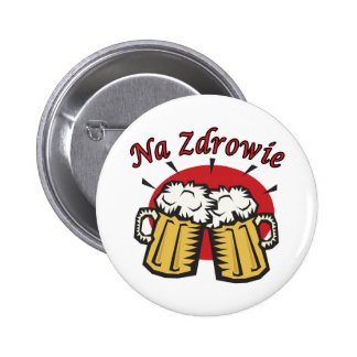 Na Zdrowie Toast With Beer Mugs 6 Cm Round Badge