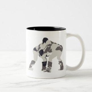 Nadaam wrestlers in Mongolia Two-Tone Coffee Mug
