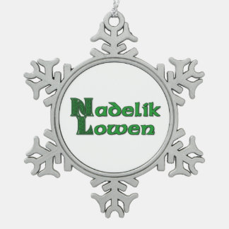 Nadelik Lowen - Cornish Christmas Snowflake Pewter Snowflake Decoration