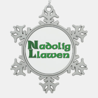 Nadolig Llawen - Welsh Christmas Snowflake Snowflake Pewter Christmas Ornament