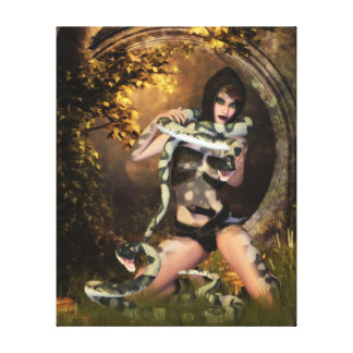 Nagini, Lady of Snakes Wrapped Canvas Print