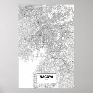 Nagoya, Japan (black on white) Poster