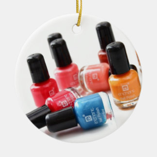nail colours Double-Sided ceramic round christmas ornament