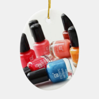 nail colours Double-Sided oval ceramic christmas ornament