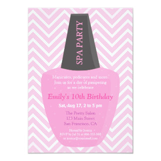 Nail Polish Spa Girls Birthday Party Invitations
