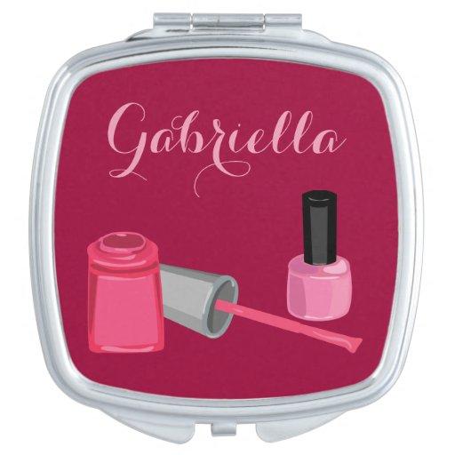 Nail Polish with Customizable Name Mirror Compact Compact Mirror