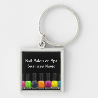 Nail Salon Business, Bright Polish Bottles Silver-Colored Square Key Ring