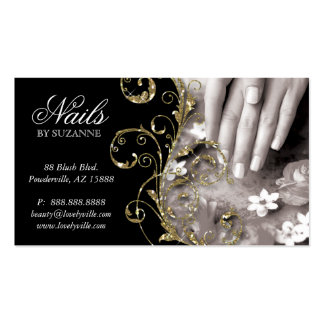 Nail Salon Business Card Black Gold