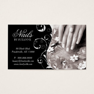 Nail Salon Business Card Black White
