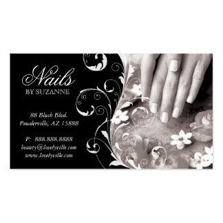 Nail Salon Business Card Black White Silver