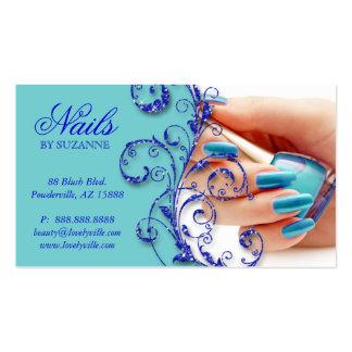 Nail Salon Business Card Glitter Blue
