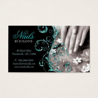 Nail Salon Business Card Glitter Blue Teal