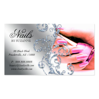 Nail Salon Business Card Glitter Pink Silver