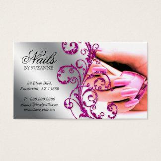 Nail Salon Business Card Glitter Pink Silver 2