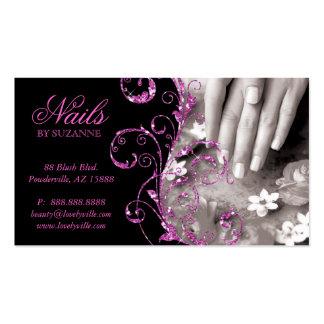Nail Salon Business Card Pink Glitter
