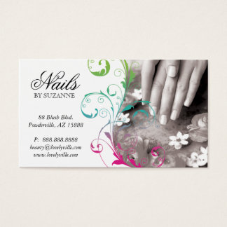 Nail Salon Business Card Pink Green