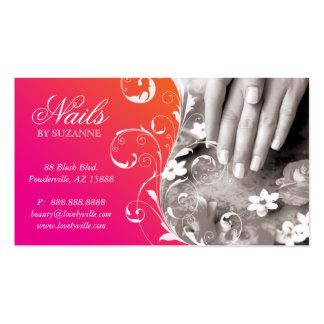 Nail Salon Business Card Pink Orange
