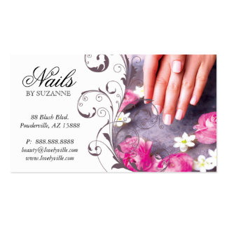 Nail Salon Business Card Pink Taupe