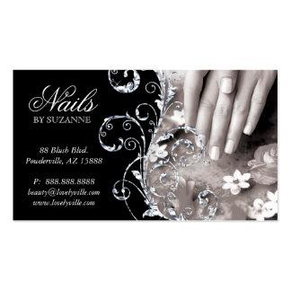 Nail Salon Business Card White Glitter