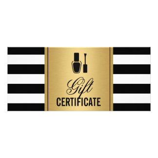 Nail Salon Gift Certificate Gold B&W Stripes