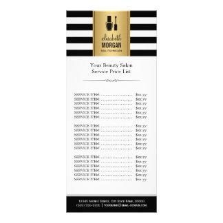 NAIL SALON Gold Black White Stripes Price List Rack Card