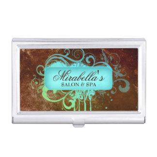 Nail Salon Grunge Glitter Blue Copper Cool Business Card Holder