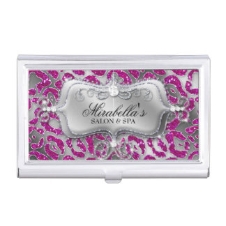 Nail Salon Leopard Glitter Monogram Modern Frame Business Card Cases